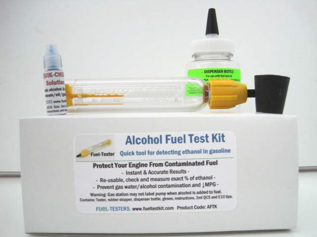 Complete Alcohol Fuel Test Kit AFTK0600 includes smaller 6ml QCS and does not include tester stand,
