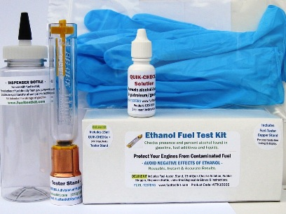 Deluxe Alcohol Fuel Test Kit: Includes fuel-tester, 15ml Quik-Check solution, collection/dispenser bottle, copper stand, E10 precautions and more.