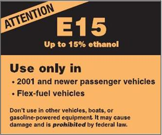 Copy of EPA proposed label for new E15 gas pumps (2011) -Click on image to view/sign E0 ethanol-free fuel choice petition.